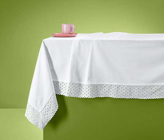 Asztalterítő, lyukhímzéssel, fehér, 10 személyes 389634 a