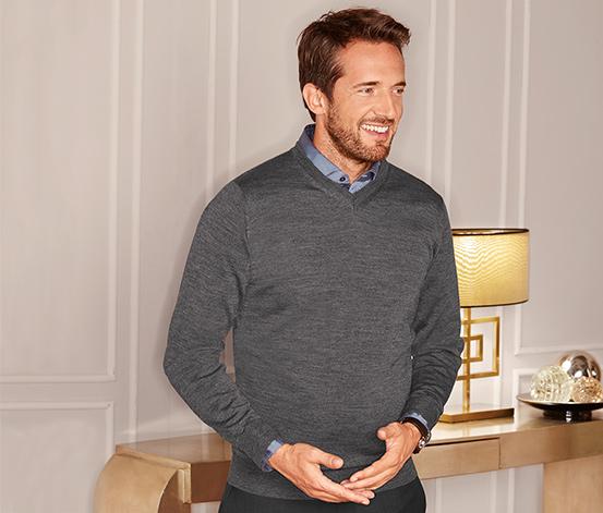 Férfi finomkötésű pulóver, szürke